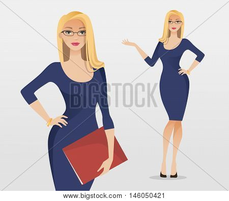 Young Blonde Hair Woman In Elegant Office Clothes And Glasses. Vector Illustration.