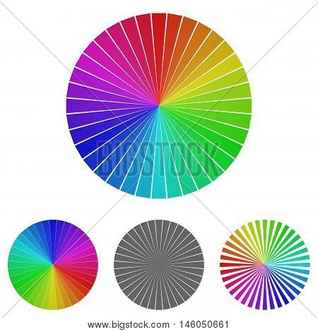 Rainbow wheel logo vector. Wheel icon symbol design template set for color, palette, happiness concepts.