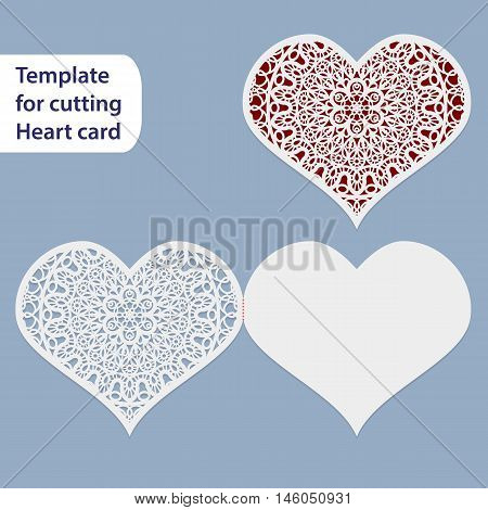 Paper openwork wedding card heart shape greeting postcard template for cutting lace imitation Valentine card love letter curve plotter vector illustration