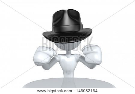 Business Man Character Wearing A Fedora 3D Illustration