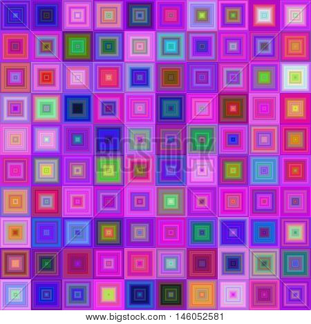 Multicolored concentric square mosaic vector background design