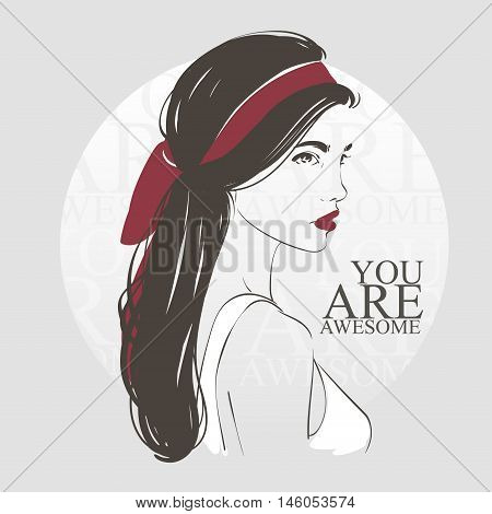 Beautiful Woman With Retro Hairstyle And Headscarf, Hand Drawn Line Vector Fashion Illustration.