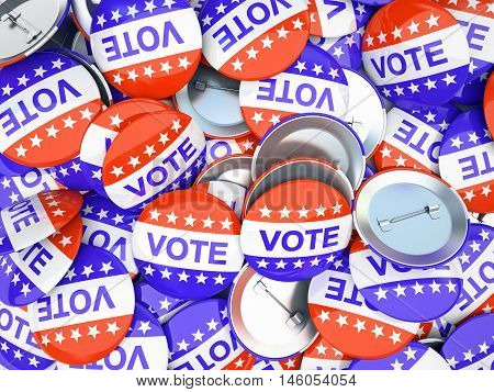 vote buttons 3d rendered. Election time in the US