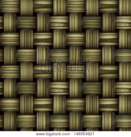 Seamless wooden wicker pattern reminiscent of old basket structure