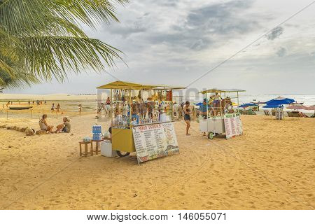 JERICOACOARA, BRAZIL, DECEMBER - 2015 - Drinks stands at beach in Jericoacoara Brazil