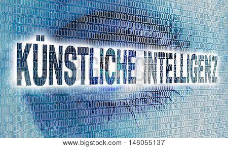 kuenstliche intelligenz (in german artificial intelligence) eye with matrix looks at viewer concept.