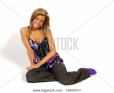 Blond girl in studio