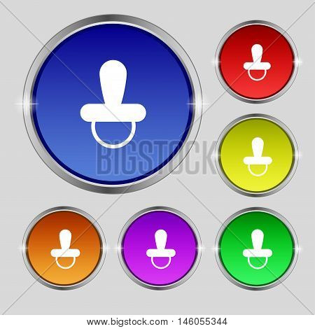 Baby Pacifier Icon Sign. Round Symbol On Bright Colourful Buttons. Vector