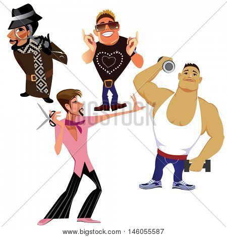 vector funny characters, men detective, funny guy, man, athlete, barber