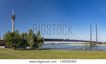 View of Dusseldorf with TV Tower and Bridge