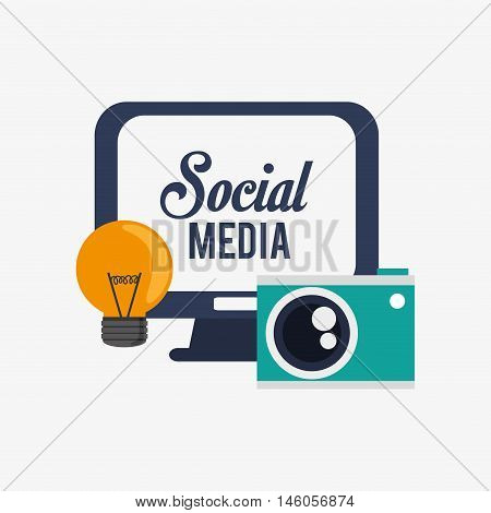flat design computer monitor with social message on screen lightbulb and camera office and telecommunication icons vector illustration