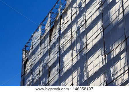 Construction Industry Concept , Building With Scaffolding