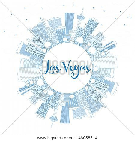 Outline Las Vegas Skyline with Blue Buildings and Copy Space. Vector Illustration. Business Travel and Tourism Concept. Image for Presentation Banner Placard and Web Site.