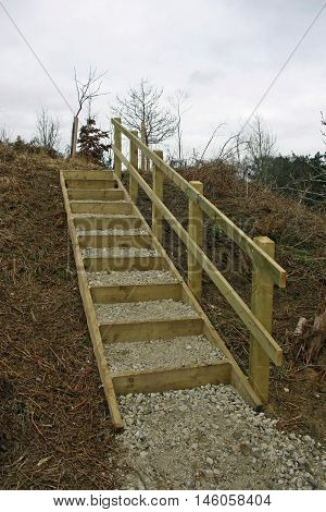New set of steps up a on a rural footpath with a timber handrail edges and risers backfilled with stone. Background of grey sky and trees.