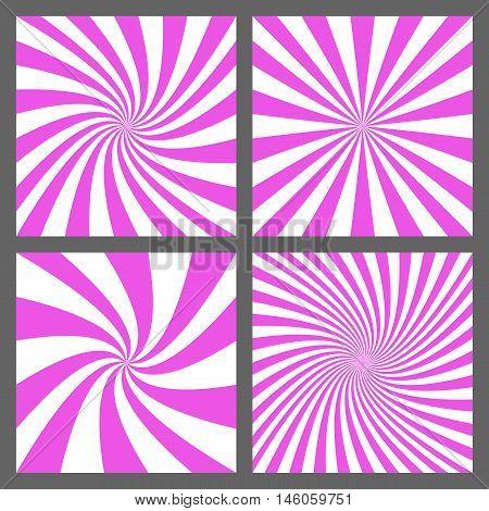 Magenta spiral and ray burst background design set