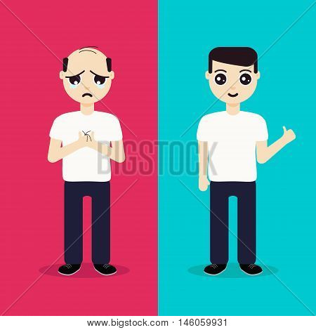 Unhappy man with alopecia becomes a happy man after hair regeneration. Before and after hair treatment and hair transplantation. Perfect for hair clinics and diagnostic centers. Vector illustration.