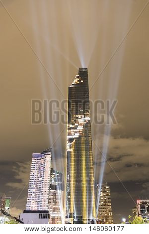 BANGKOK THAILAND - AUGUST 29 2016 : Mahanakhon bangkok rising lightshow The new highest building in Thailand. cityscape in night of Bangkok Thailand.