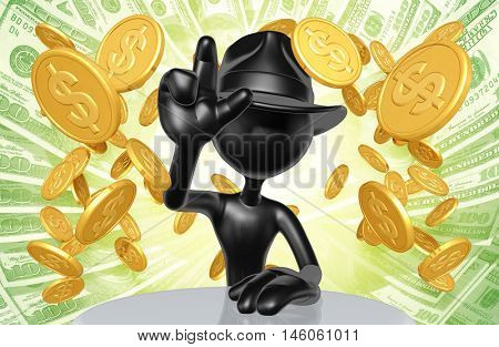 Business Man Character Wearing A Fedora With Gold Coins 3D Illustration