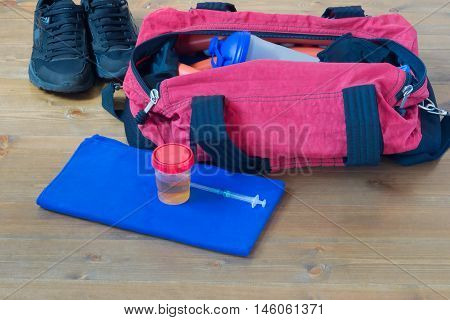 things in a bag for the athlete on the table