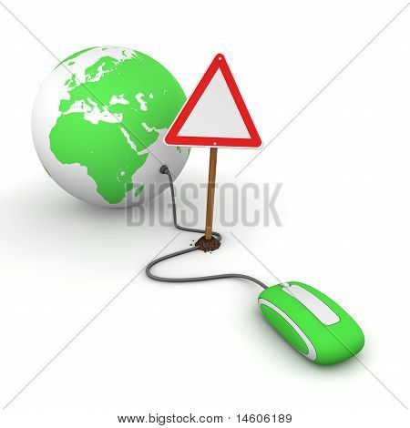 Surfing The Web In Green - Blocked By A Triangular Warning Sign