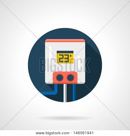 Water tank or boiler with temperature control. Heating equipment, heated floor system. Appliance for cold season. Colored round flat design vector icon.