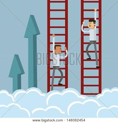 flat design businessman climbing ladder icon vector illustration