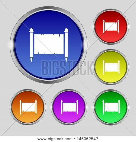 Ancient Parchment Sheet Of Paper Sign. Round Symbol On Bright Colourful Buttons. Vector