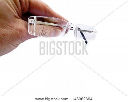Hand holding air of rimless eye glasses reading glasses eyeglass frames
