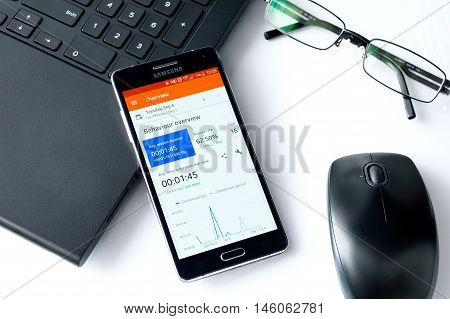 WROCLAW POLAND- SEPTEMBER 07th 2016 : Samsung A5 with Google Analytics application laying on desk. Google Analytics is the one of most widely used application that tracks and reports website traffic.
