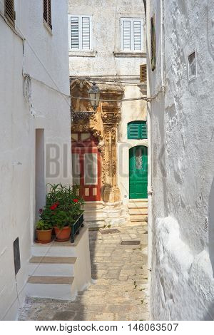 Perspective of an alleyway of Ostuni. Puglia. Italy.