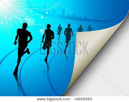 Group Of Runners On A Blue Cityscape Background, With The Page Flipping