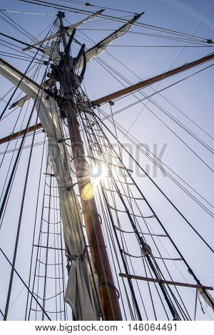 Rope ladders and masts of a sailing ship