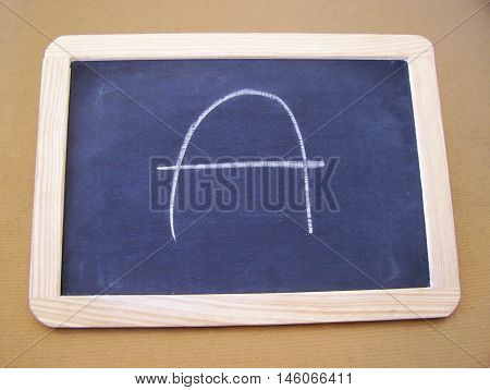 Slate used by students in the preparatory work - letter A