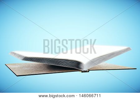 Empty open hardcover book on blue background. Education concept. Mock up 3D Rendering