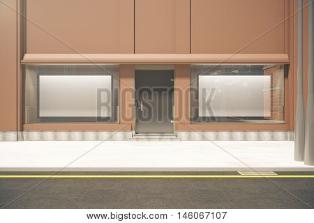Front view of storefront with two large billboards in daylight. Mock up 3D Rendering