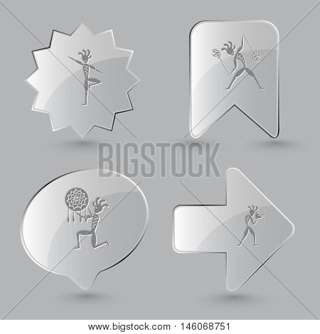 4 images: ethnic little man as yogi, with fire poi, as shaman, with camera. Ethnic set. Glass buttons on gray background. Vector icons.