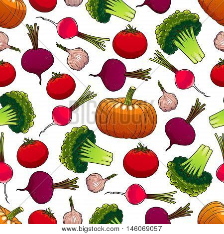 Seamless pattern of fresh veggies with ripe tomato, pumpkin, broccoli, beet, radish and garlic vegetables. Organic farming, vegetarian food and agriculture themes design