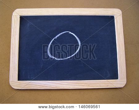Slate used by students in the preparatory work - letter O