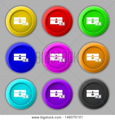 Chest Icon Sign. Symbol On Nine Round Colourful Buttons. Vector