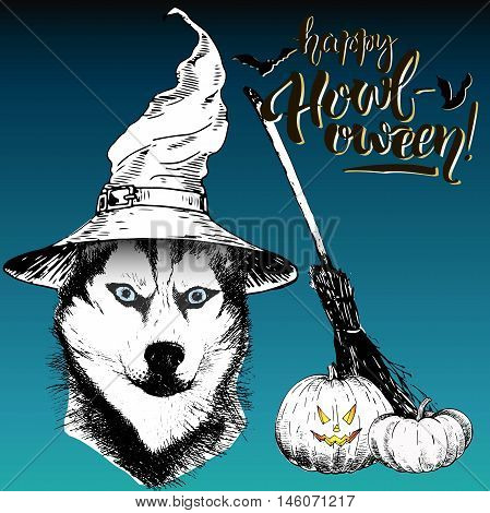 Vector greeting card for Halloween. Siberian husky dog wearing the witch hat. Broom and pumpkin lanterns. Decorated with lettering Happy Howl-oween and bats. Hand drawn.