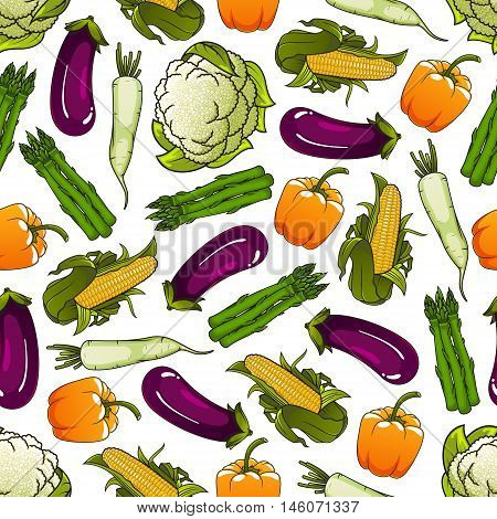 Fresh farm bell pepper, corn, asparagus, cauliflower and daikon vegetables seamless pattern on white background. Agriculture, farm market or food packaging design