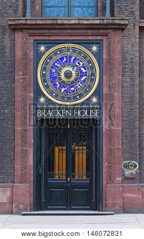 LONDON UNITED KINGDOM - JANUARY 25: Bracken House Clock in London on JANUARY 25 2013. Astronomical Clock at Building in Cannon Street in London United Kingdom.