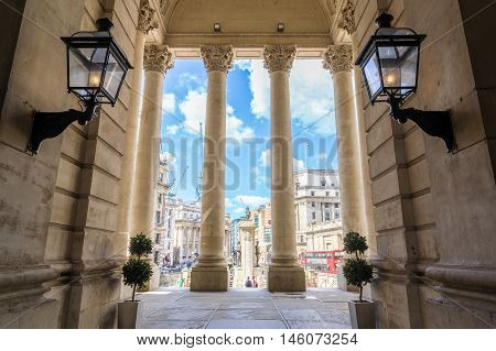 London UK - August 06 2016 - Bank junction viewed from Royal Exchange