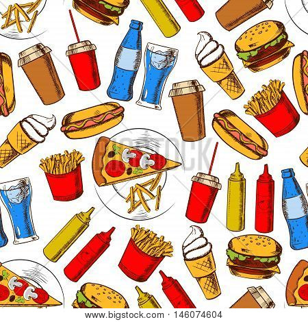Fast food dinner with drinks and dessert seamless background with pattern of pizza, cheeseburger, hot dog, french fries and soda drinks, takeaway coffee cup, ice cream and sauces