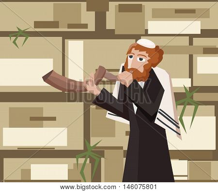 jew blowing the shofar at kotel - cartoon vector illustration