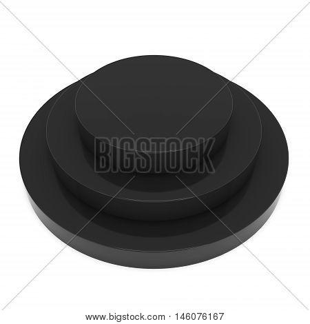 Round stage black podium for award ceremony. 3D render illustration pedestal isolated on whithe background
