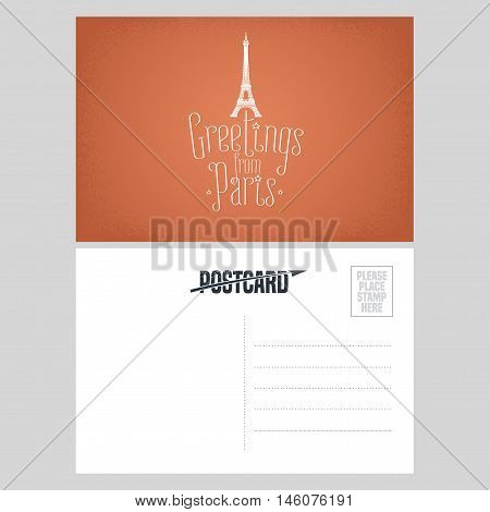 France Paris vector postcard design with Eiffel tower. Template double side illustration element nonstandard mail postcard with blank copyspace stamp and Greetings from Paris sign