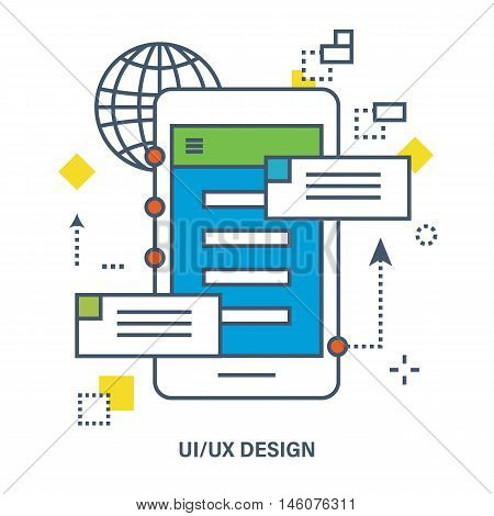 Concept of ui ux design. Flat Vector illustration. Can be used for banner, business data, web design, brochure template.