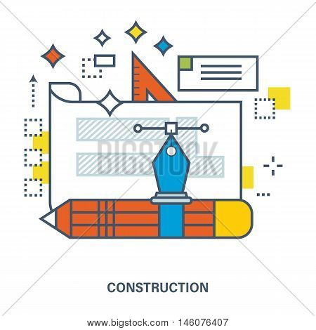 Concept of design project and construction. Flat Vector illustration. Can be used for banner, business data, web design, brochure template.