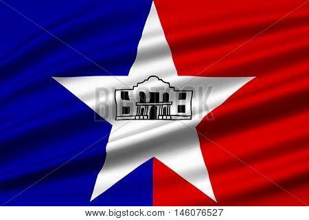 Flag of San Antonio in Texas United States. 3D illustration
